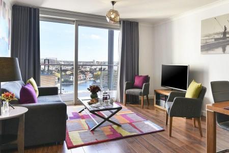 living room, Boardwalk Apartments, Canary Wharf, London E14