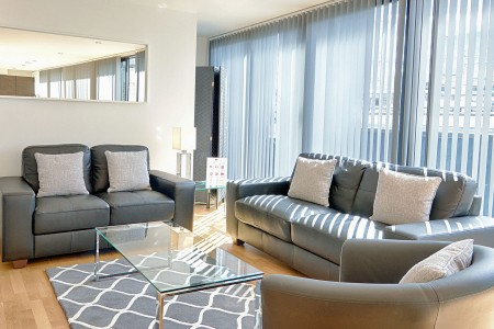 living room in watling apartments, london