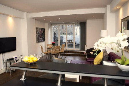 living room and terrace, St Martins Lane, Covent Garden, London WC1