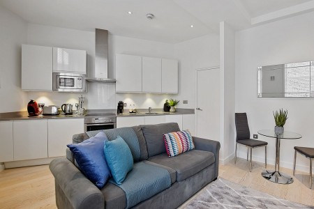 living area with kitchen, West Apartments, Covent Garden, London WC2