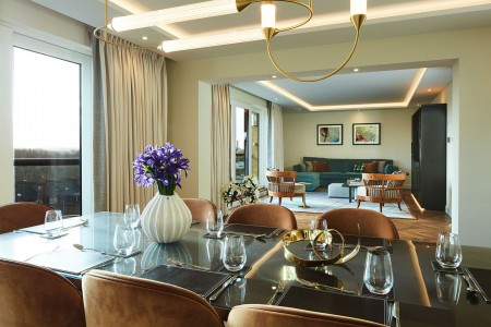 living and dining area, The Luxury Apartments, Kensington, London SW7