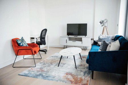 living room with work desk, Hoxton Apartments, Hoxton, London E2