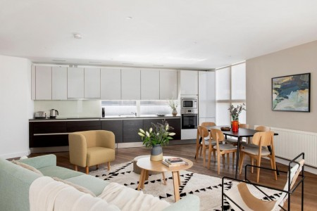living area with kitchen, Martins Apartments, Covent Garden, London WC2