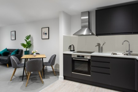 kitchen and living area, Park Apartments, Queen's Park, London NW6