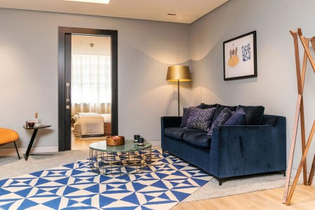 living room and view to bedroom, Southwark Apartments, London Bridge, London SE1