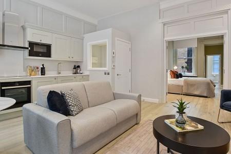 living area with kitchen, Soho Apartments, Soho, London W1