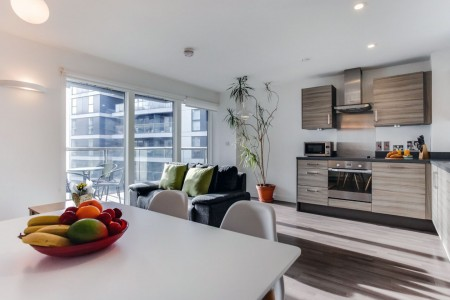 living area and balcony, Dance Apartments, Clerkenwell, London EC1