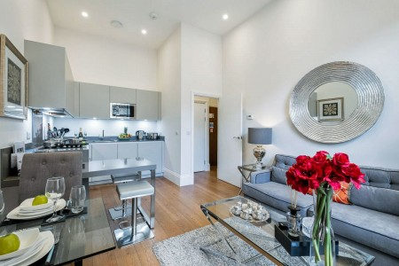 living room with kitchen, The Deluxe Apartments, Kensington, London SW7