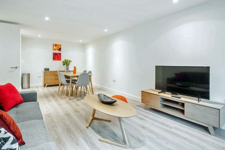living are with kitchen, Compton Apartments, Covent Garden, London WC2