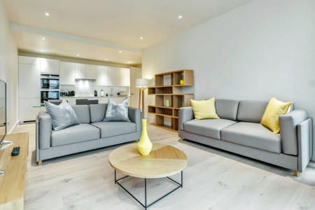 living room with kitchen, The Place Apartments, Waterloo, London SE1