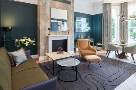 living room, Lexham Apartments, Kensington, London W8