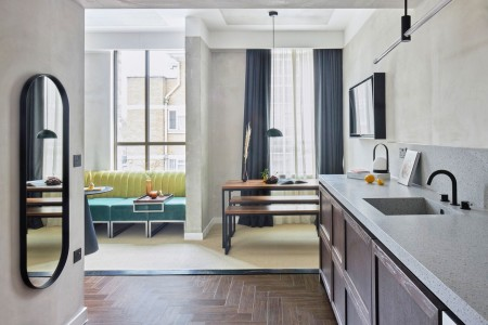 living room and kitchen, Hackney Apart Hotel, Hackney, London E8
