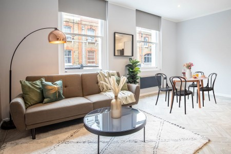 living and dining area, OPL Apartments, Fitzrovia, London W1